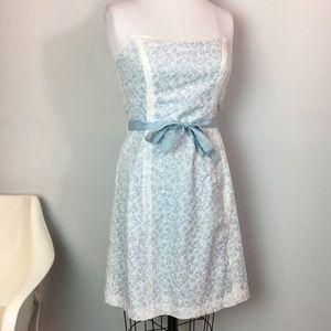 Shoshanna Blue Eyelet Strapless Party Dress